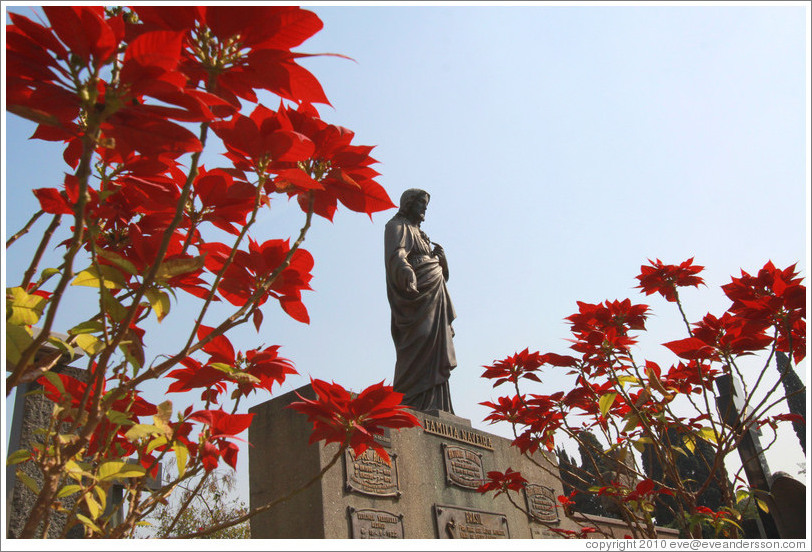 Flowers and a Jesus statue.  Cemit?o S?Paulo.