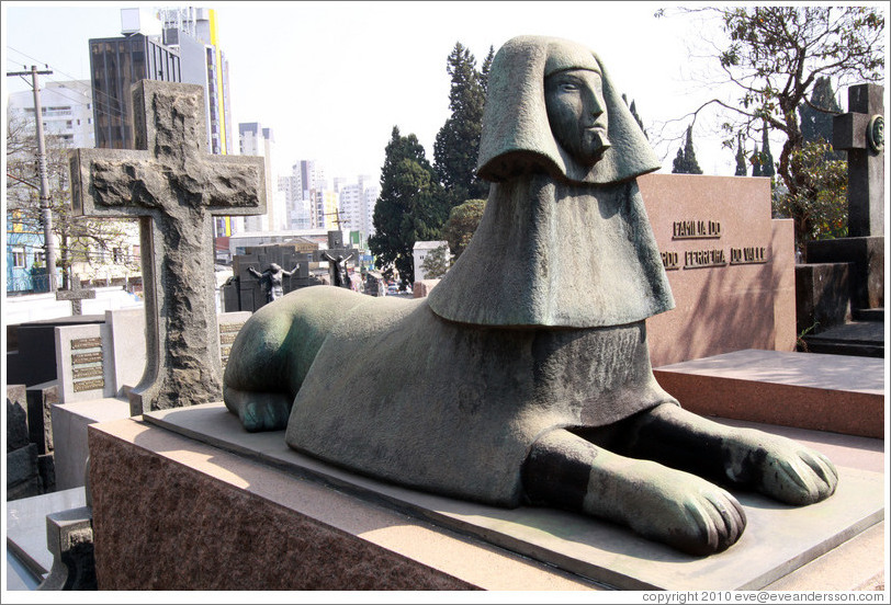 Tomb with sphinx sculpture.  Cemit?o S?Paulo.