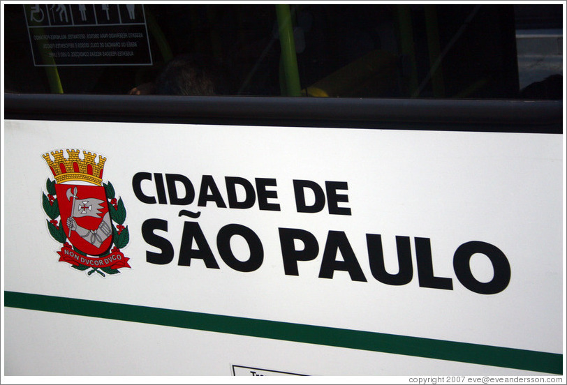 City of São Paulo, written on the side of a bus.