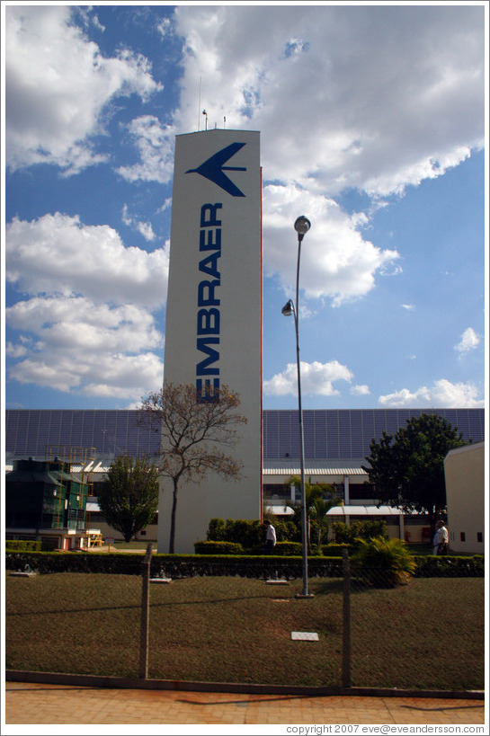 Entrance to Embraer, headquartered in São José dos Campos, near São Paulo.  Third largest airline producer in the world after Boeing and Airbus.