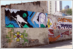 Graffiti: bird, moon, woman, flower.  Av. Quarto Centen?o at Rua Leiria.