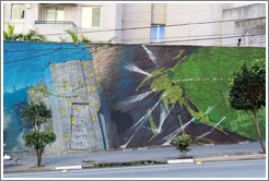 Graffiti: large green insect and buildings.  Rua Manuel da N?ga.