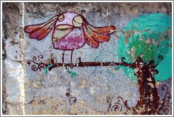 Graffiti: pink bird on a tree branch.  Villa Magdalenda neighborhood.  Rua Ant? Bicudo near Rua Benjamin Egas.