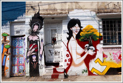 Graffiti: woman with four arms and naked woman with two skulls and a tree.  Villa Magdalenda neighborhood.  Rua Belmiro Braga and Rua Cardeal Arcoverde.
