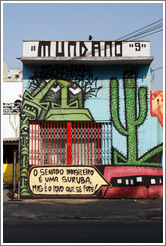 "Graffiti: many green faces, a cactus, and a mouth saying ""O Senado Brasileiro ?ma Suruba, Mas ? Povo que se Fode"".  Mundano 9.  Villa Magdalenda neighborhood.  Rua Cardeal Arcoverde."