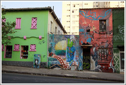 Graffiti on buildings.  Villa Magdalenda neighborhood.  Rua Cardeal Arcoverde.