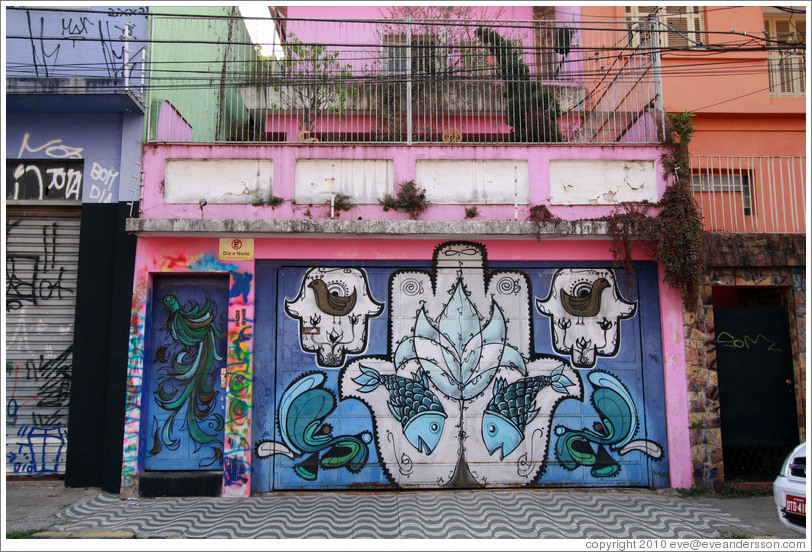 Graffiti: lotus flower, fish, birds.  Villa Magdalenda neighborhood.  Rua Padre Jo?Gon?ves near Rua Fradique Coutinho.