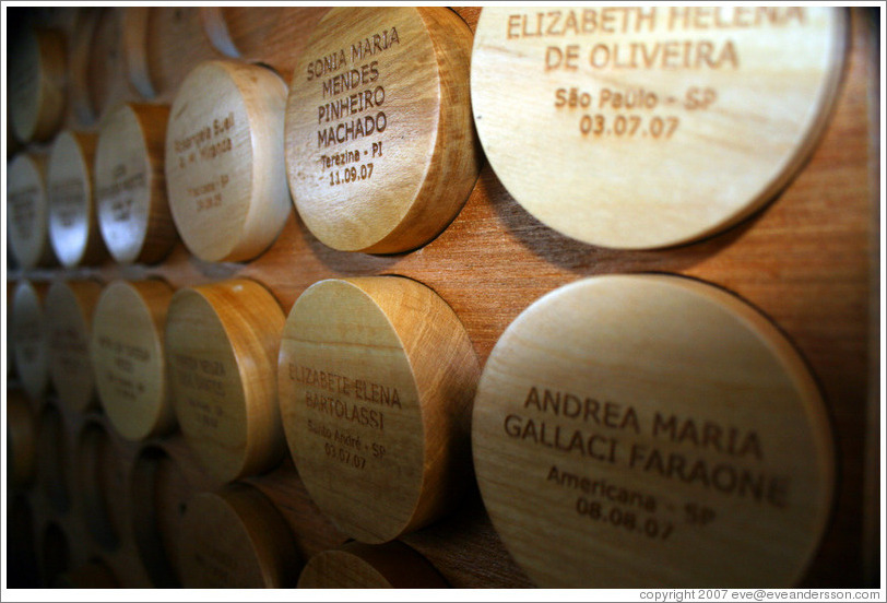"Plaques commemorating ""consultant"" (salesperson) visits to the headquarters of Natura, Brazil's largest cosmetics company."