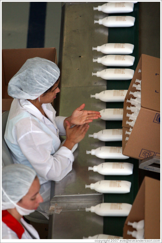 Factory workers.  Headquarters of Natura, Brazil's largest cosmetics company.