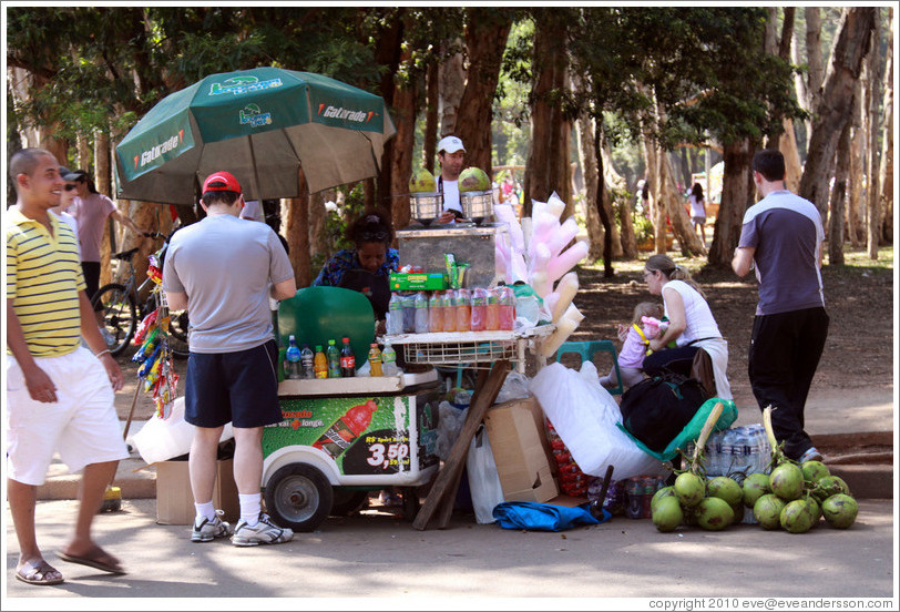 Coconut juice stand.  Parque do Ibirapuera.