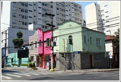 Grey, pink and green building.  Rua Artur de Azevedo and Rua Sim??lvares.  Villa Magdalena neighborhood.
