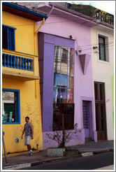 Lavender building.  Rua Artur de Azevedo.  Villa Magdalena neighborhood.