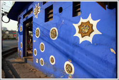 Blue restaurant with star-like tiles.  Rua Belmiro Braga.  Villa Magdalena neighborhood.