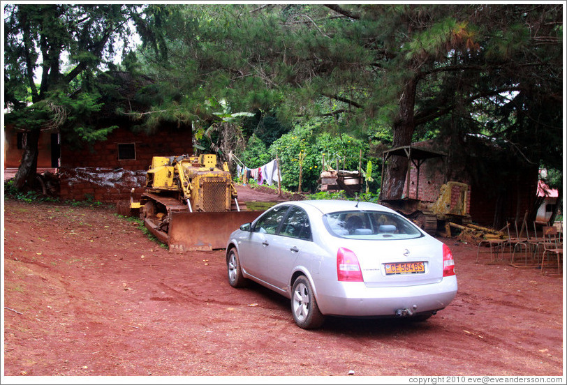 Car in a tribal compound.