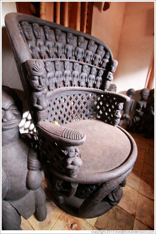 Carved wooden chair.