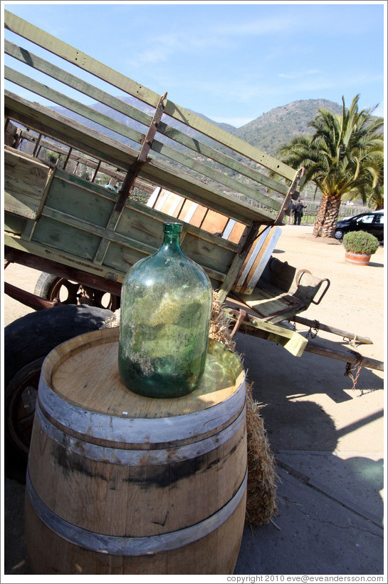 Wagon, bottle and barrel.  Veramonte Winery.