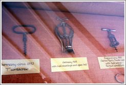 Old corkscrews.  The middle one, made in Germany in 1905, is quite similar to those currently on the market.  Musem, Veramonte Winery.