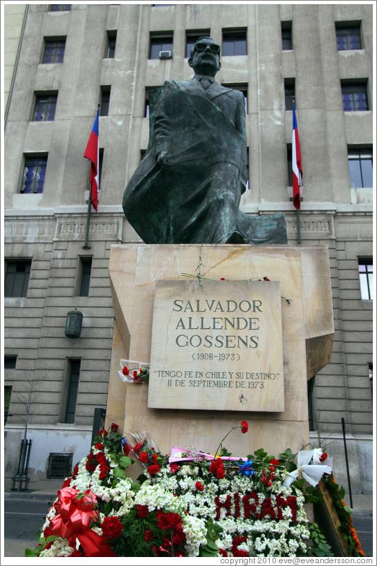 Statue Of Salvador Allende Gossens Near La Moneda Photo