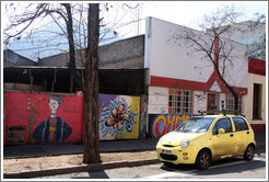 Yellow car and graffiti.  Dardignac at Pur�sima, Bellavista neighborhood.