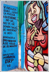 Mural: woman holding fish.  Dedication to Pablo Neruda by Colectivo Muralista BRP.  Fernando M�rquez de La Plata, Bellavista neighborhood.