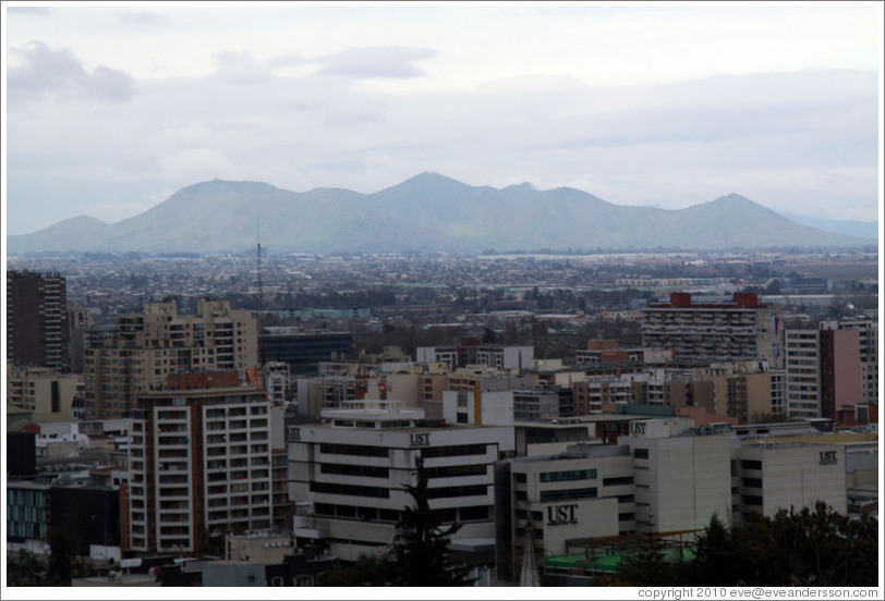 View of Santiago from the RQ Santiago Suites hotel.