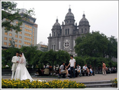 Wedding in front of St. Joseph's Cathedral.