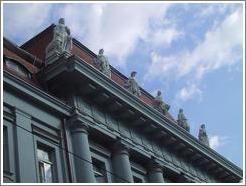 Building with statues in downtown Zagreb.