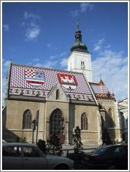 Church with tiled roof in downtown Zagreb.
