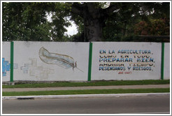 "Words by José Martí painted on a wall on Avenida de la Independencia: ""En la agricultura, como en todo, preparar bien. Ahorrar tiempo, desengaños y riesgos."" (""In agriculture, as in everything, prepare well. Save time, disappointment, and risk."")"