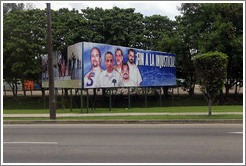 "Billboard  on Avenida de la Independencia saying ""Fin a la injusticia!"" (""End to the injustice!""), referring to the Cuban Five: five Cuban men who were controversially imprisoned in the United States in 1998."