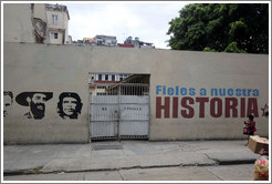 "Words painted on a wall, saying ""Fieles a nuestra historia"" (""Faithful to our history""), Avenida Simon Bolivar (Calle Reina)."
