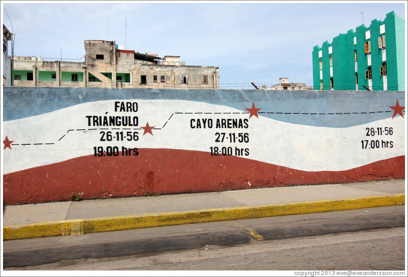 A timeline of the revolution, including Faro Tríngulo and Cayo Arenas, painted on a wall at O Street and Humbolt.