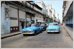Two blue cars, Calle Padre Varela (Belonscoain).