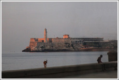 Morro Castle (Castillo de los Tres Reyes del Morro), with a dog standing on the Malecón wall, at dusk.