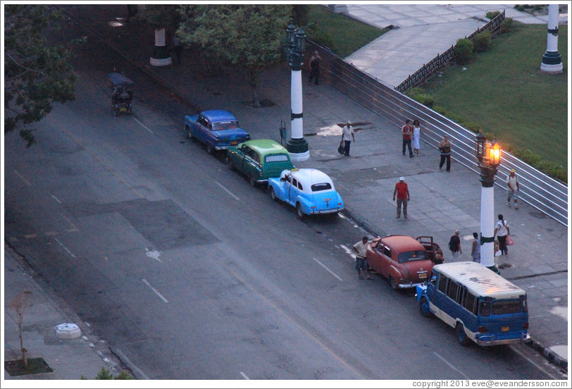 Cars parked in front of Parque Central (Central Park), viewed from the roof Hotel Saratoga.