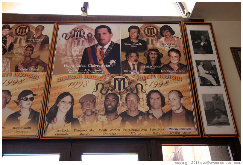 Pictures of famous people who have visited the Hotel Nacional de Cuba, including Hugo Chávez and Lisa Loeb.