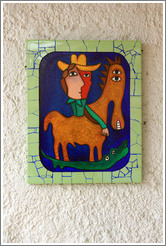 Tile with a man on a horse, Fusterlandia.