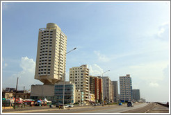 Tall buildings beside the Malecón.