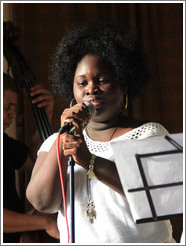 Singer Dayme Arocena Uribarri, performing at a private home in Miramar.