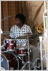 Drummer Julio Cesar, performing at a private home in Miramar.