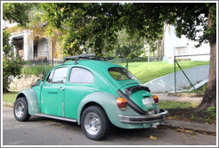 Green Volkswagen Beetle, on a street in Miramar.