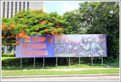 "Billboard reading ""54 años de luchas y victorias"" (""54 years of battles and victory""), Plaza de la Revolución."