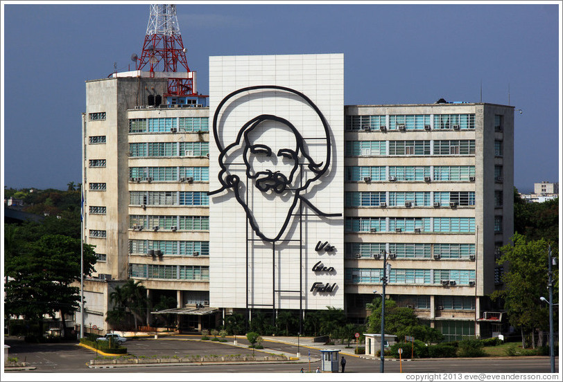 Camilio Cienfuegos depicted on the Ministry of Communications and Informatics, Plaza de la Revolución.