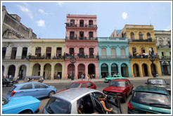 Colorful buildings and cars, Paseo del Prado.