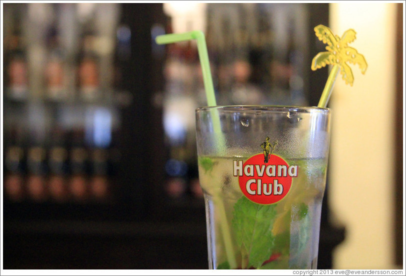 Glass with a the logo of Havana Club, a Cuban rum producer, at Sloppy Joe's Bar.