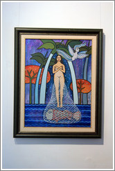 Painting by Cuban artist Alicia Leal hanging in the studio she shares with artist Juan Moreira.