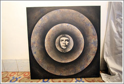 Artwork depicting Che Guevara by Cuban artist Juan Moreira in the studio she shares with artist Alicia Leal.