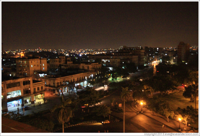 View of Havana from Hotel Saratoga at night.