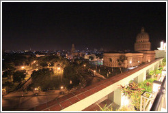 View of Havana from Hotel Saratoga, including the Capitolio, at night.