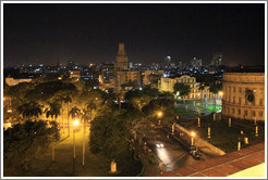 View of Havana from Hotel Saratoga, including Parque Central (Central Park), at night.